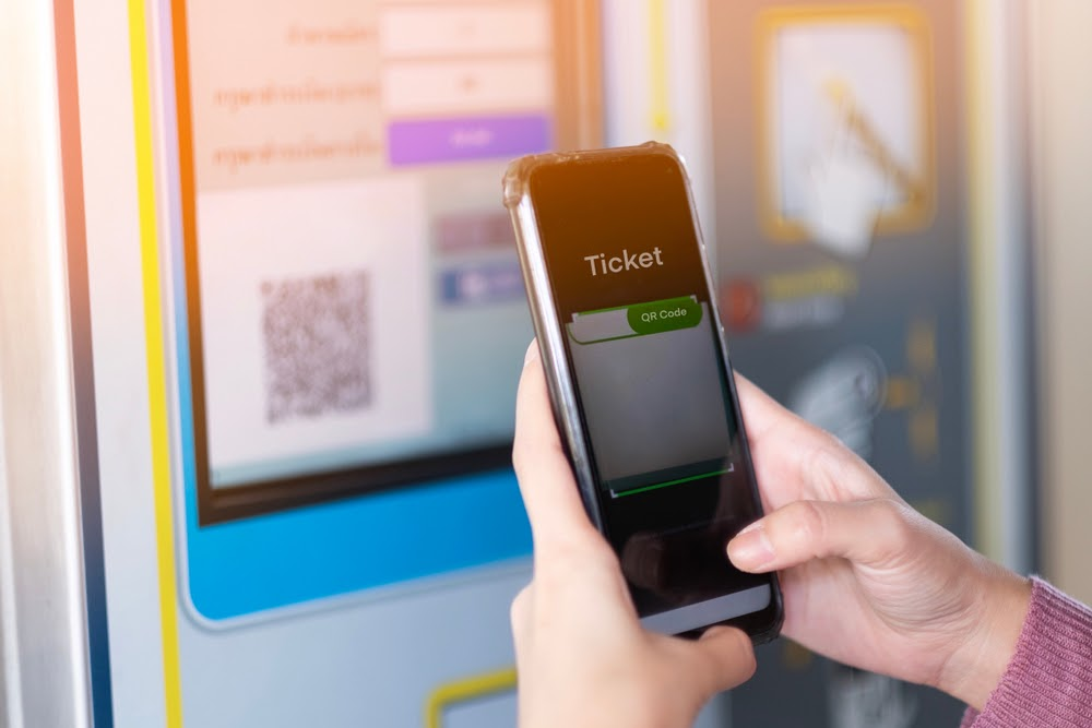 Buy QR code ticket for bus on a phone