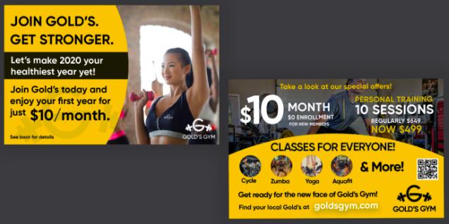 QR code on gold's gym postcard