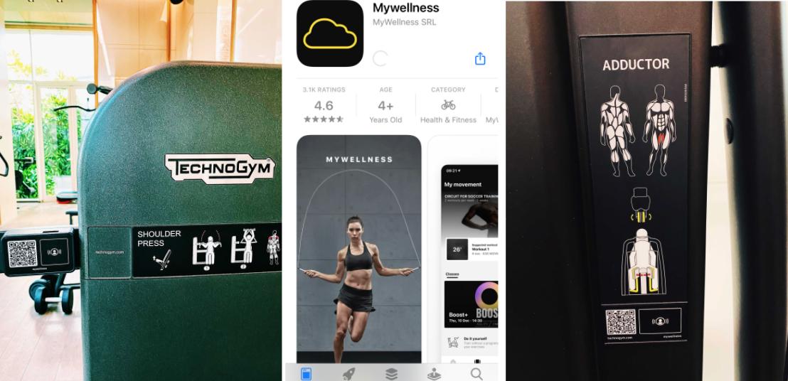 QR code technogym equipment and mywellness app screenshot