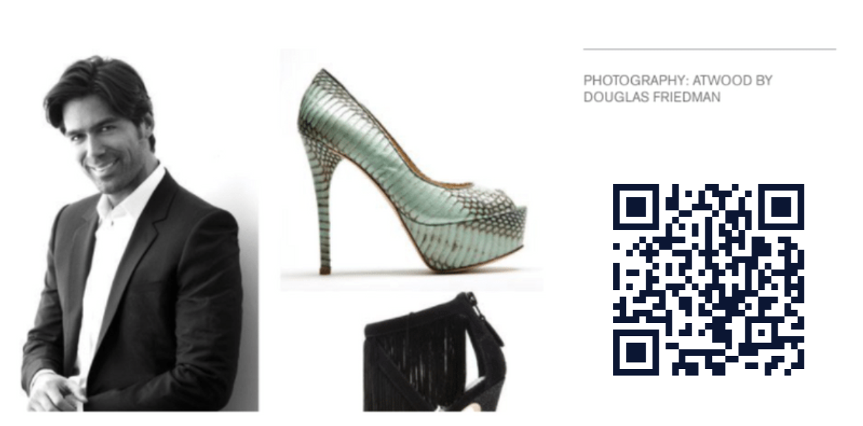 brian atwood with shoes and QR code