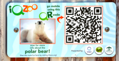 QR code education polar bear sign at the zoo