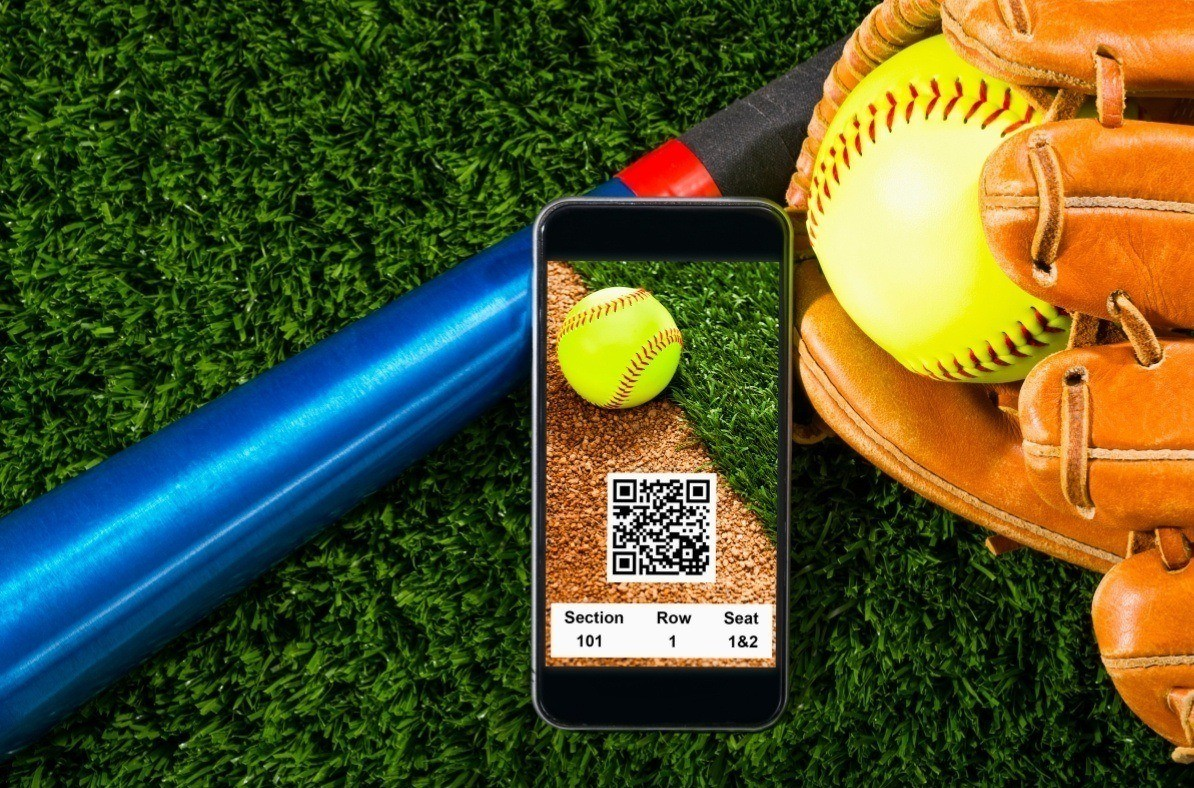 QR code ticket to a baseball game