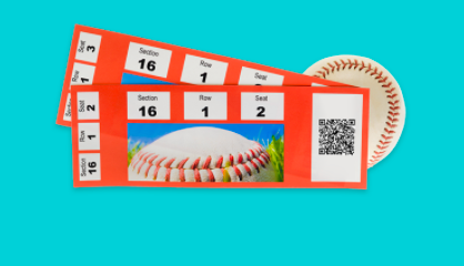 Orange baseball game ticket with a QR code on it