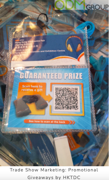 qr code on a badge for trade show marketing