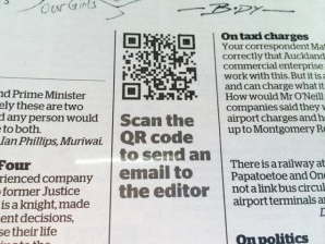 QR code in a newspaper that scans to emailing an editor
