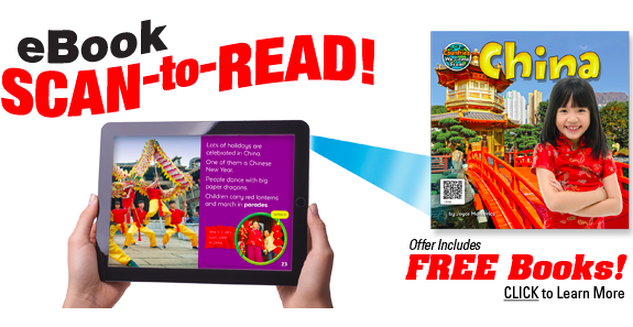hands holding electronic reader with qr code to try a free children's ebook