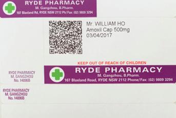 Our Pills Talk app QR code on Ryde Pharmacy prescription