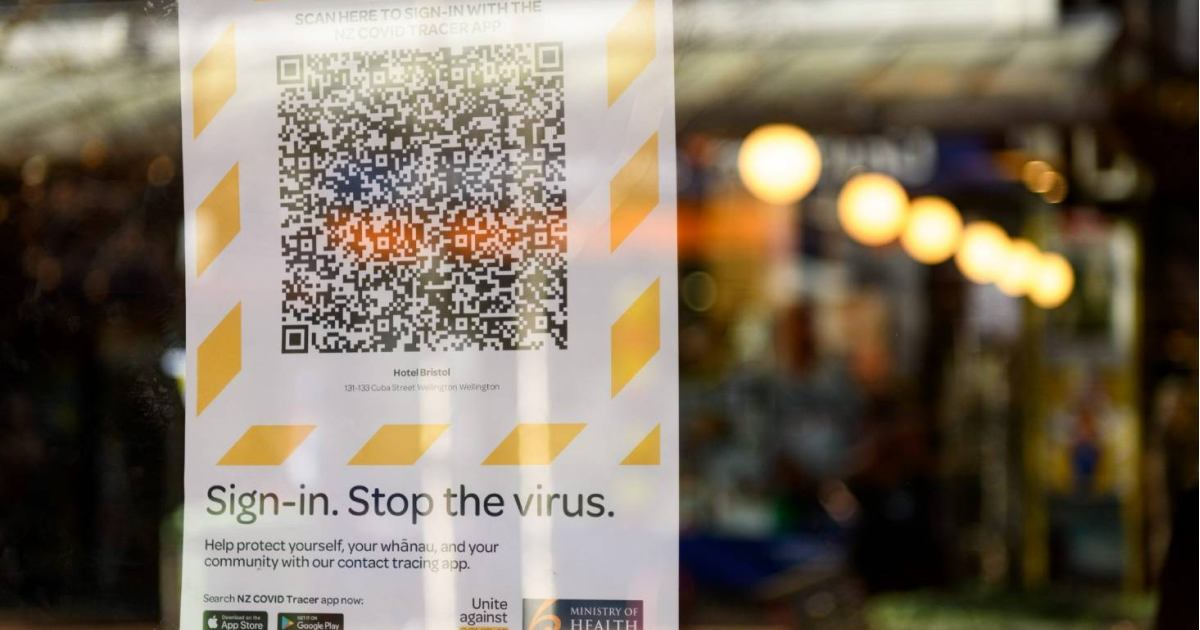 stop the virus qr code poster on the window