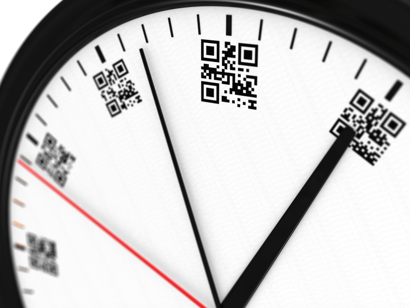 QR codes on the clock face