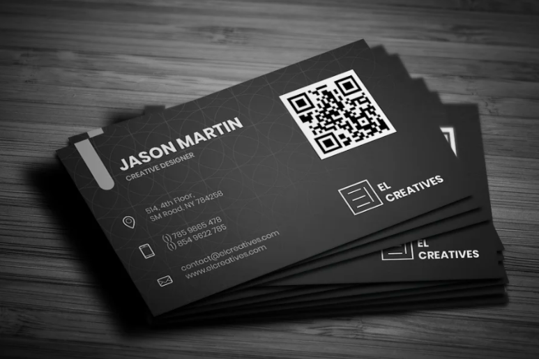 black and white business card image with qr code