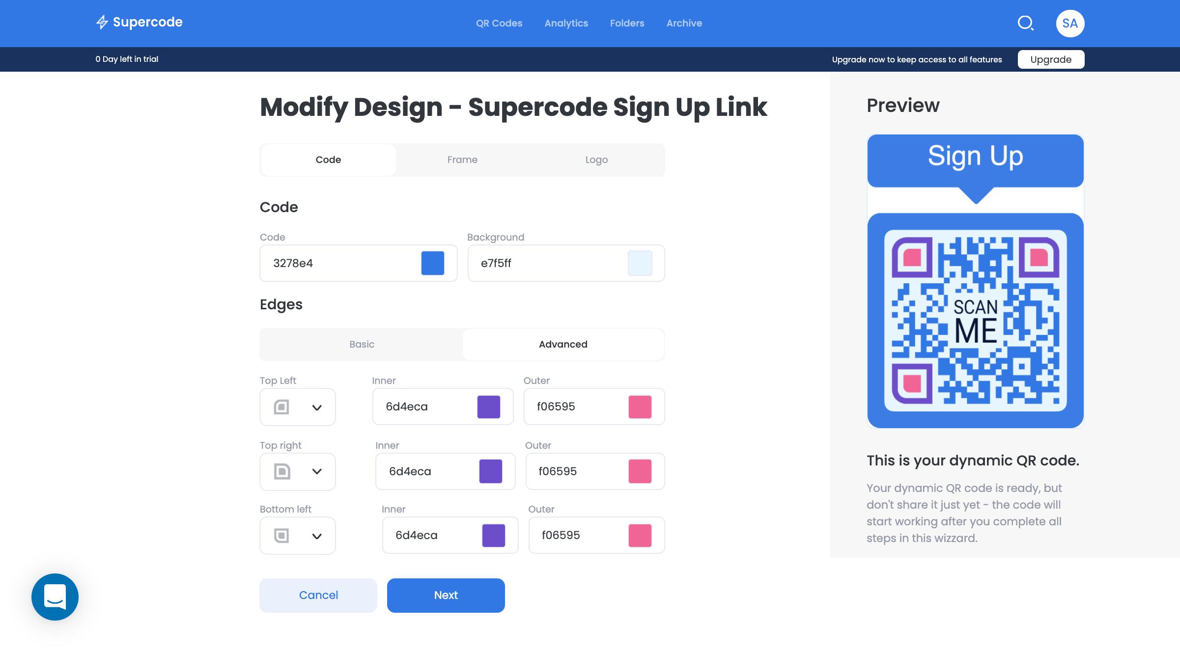 modify qr code design on supercode