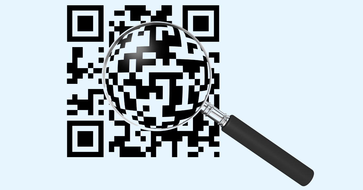 QR code under a magnifying glass