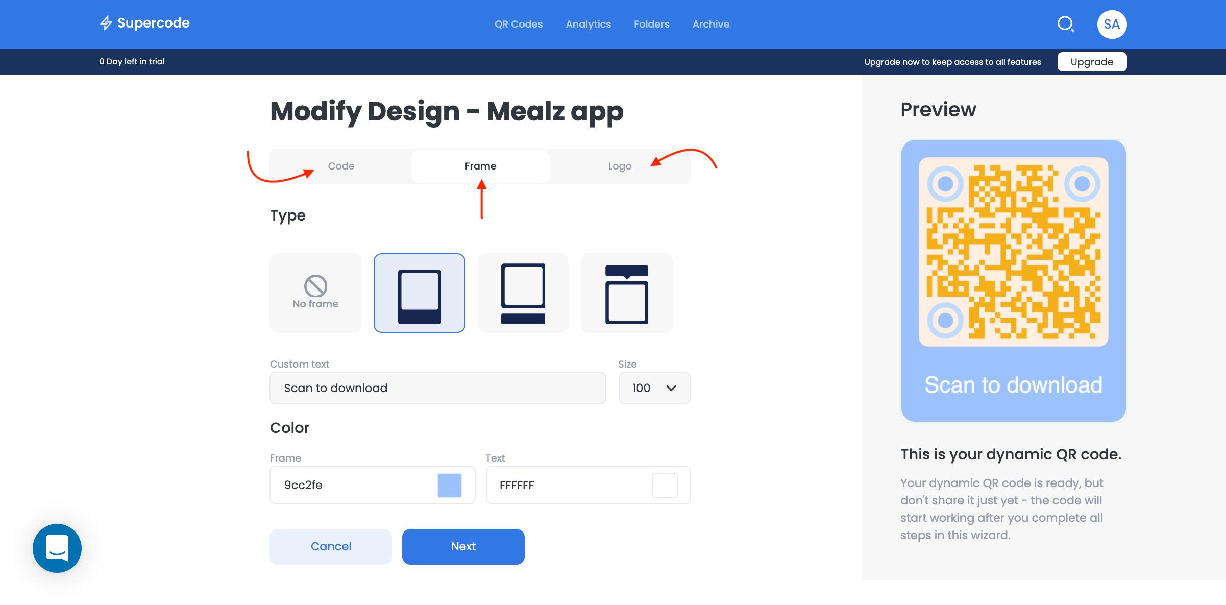 Modify design on Supercode