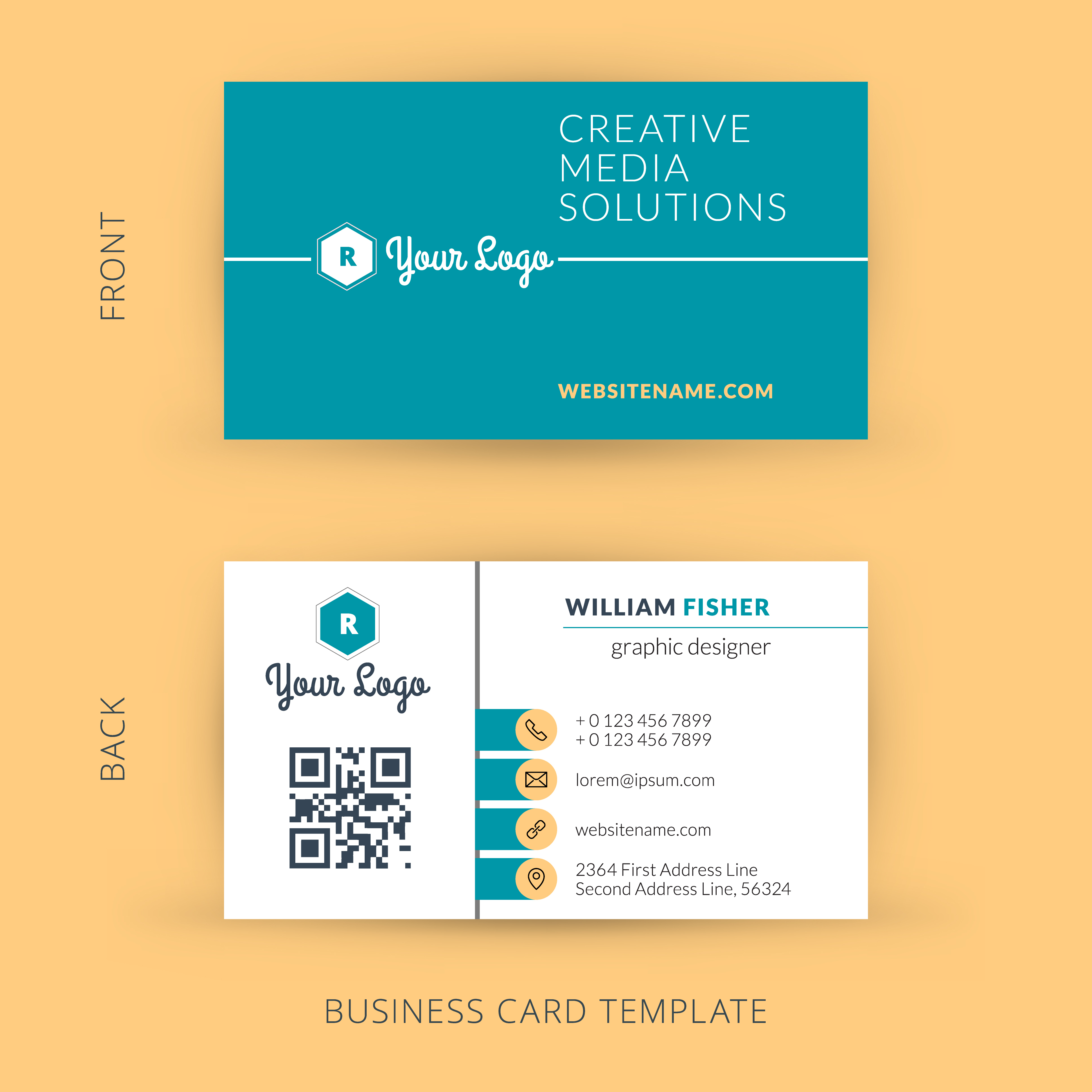 turquoise and white business cards with qr code on yellow background