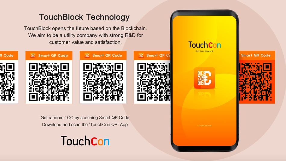 touchcon qr code advertisement in orange tones