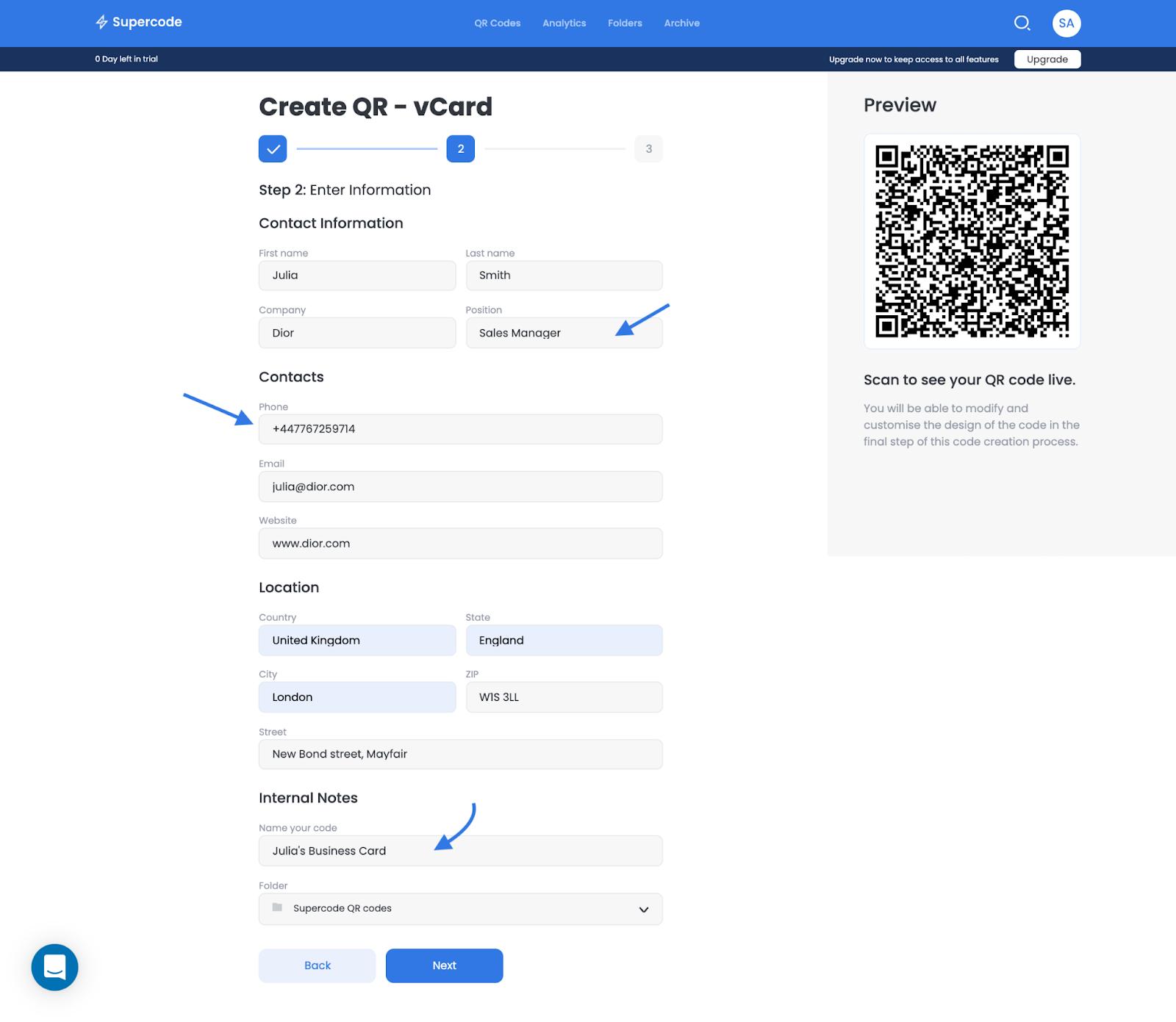 create vcard qr code on supercode