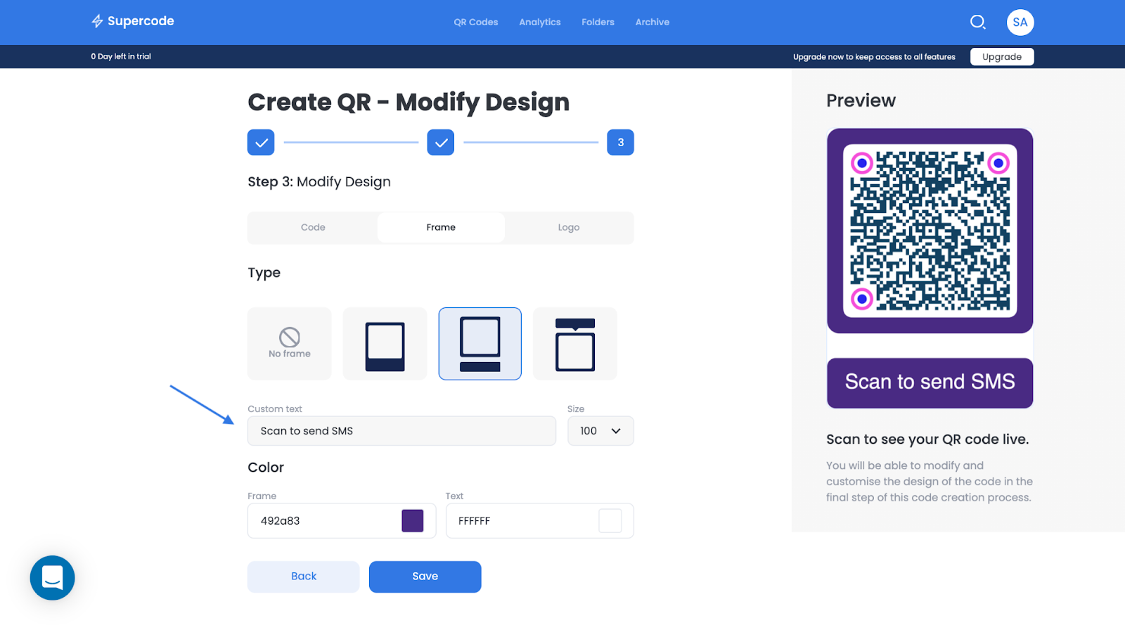 design a qr code on supercode's dashboard