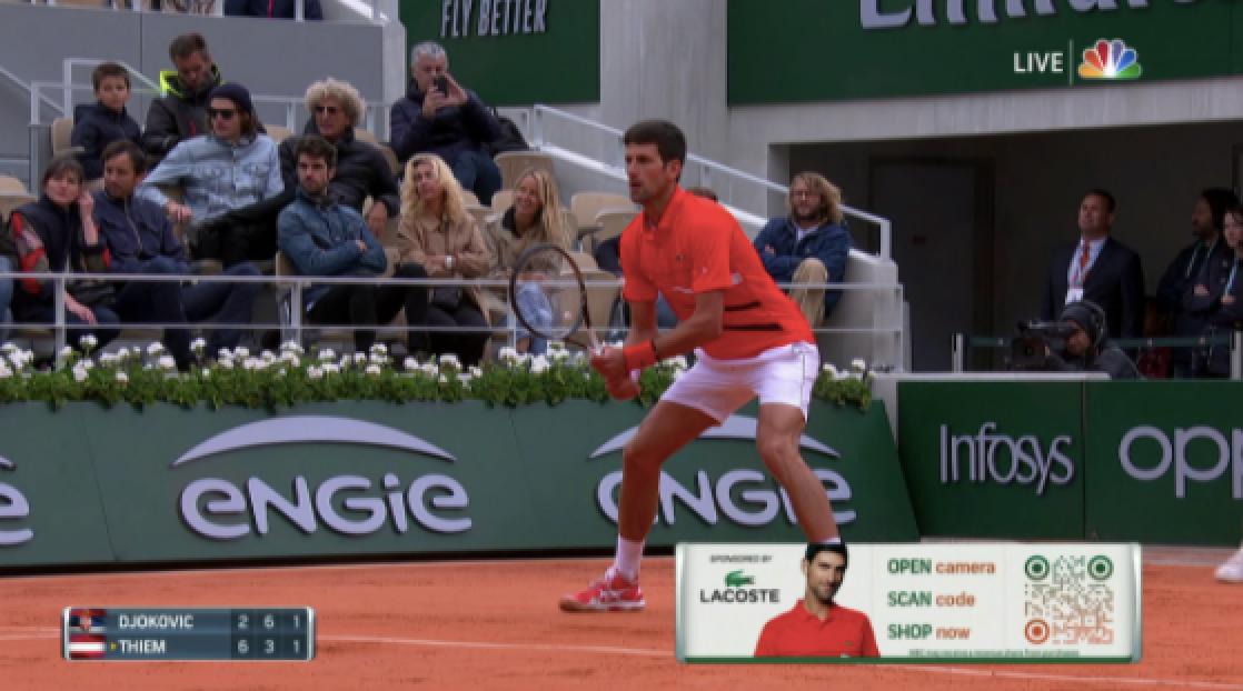 djokovic tennis match with lacoste qr code