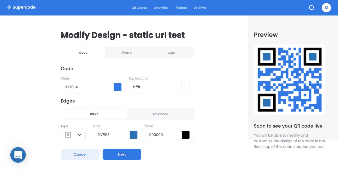 modify design supercode qr code generator