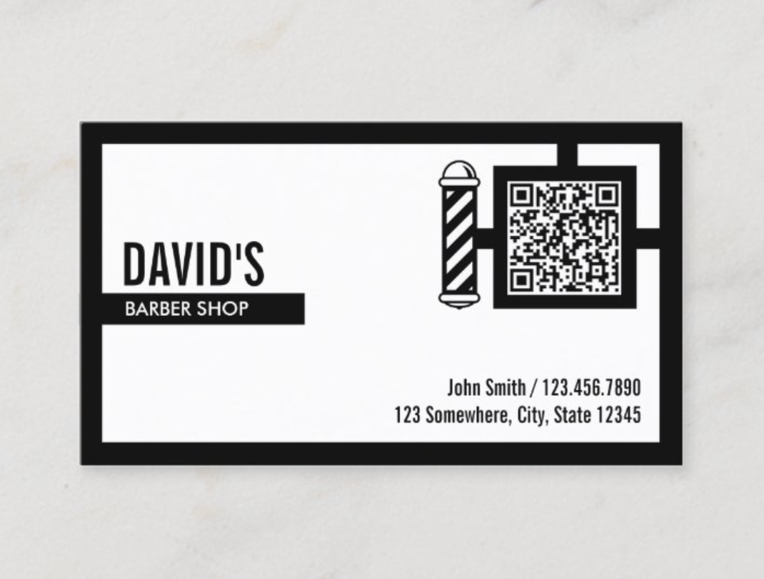 barber shop qr code business card