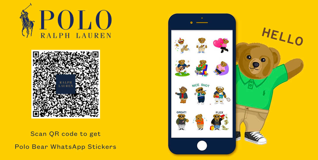polo bear whatsapp stickers advert with bear mobile and qr code