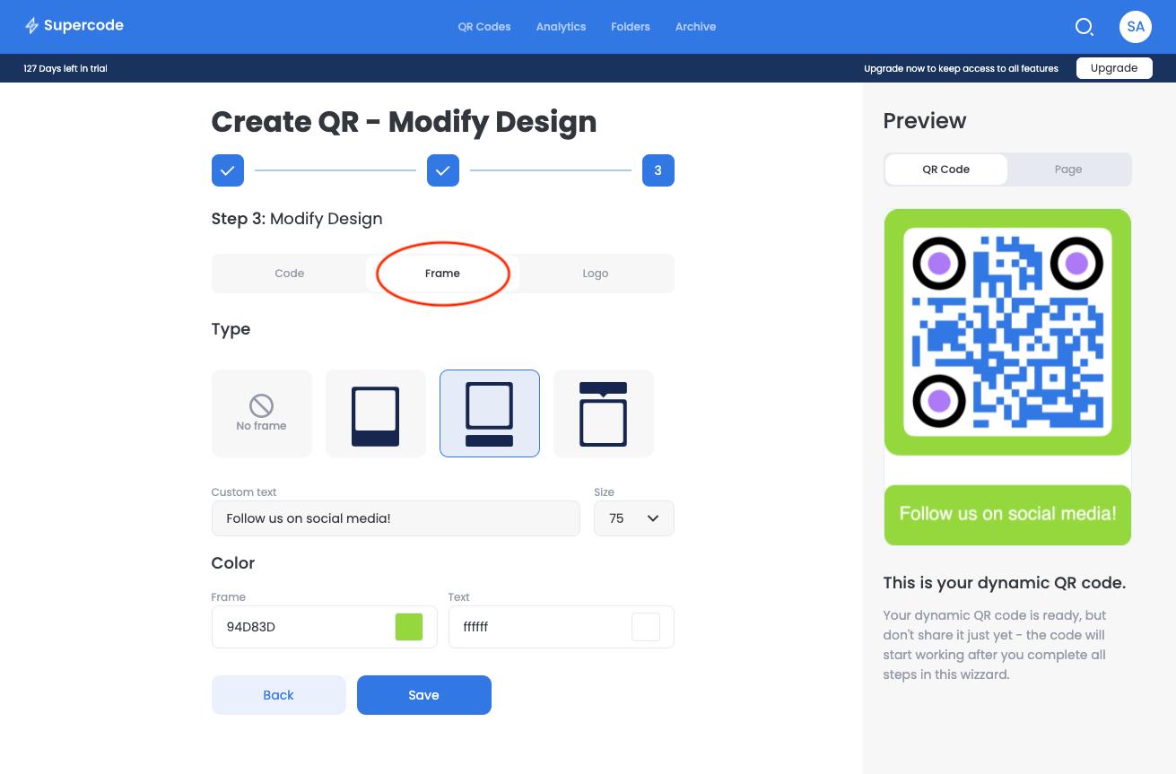 create qr code modify design screen frame