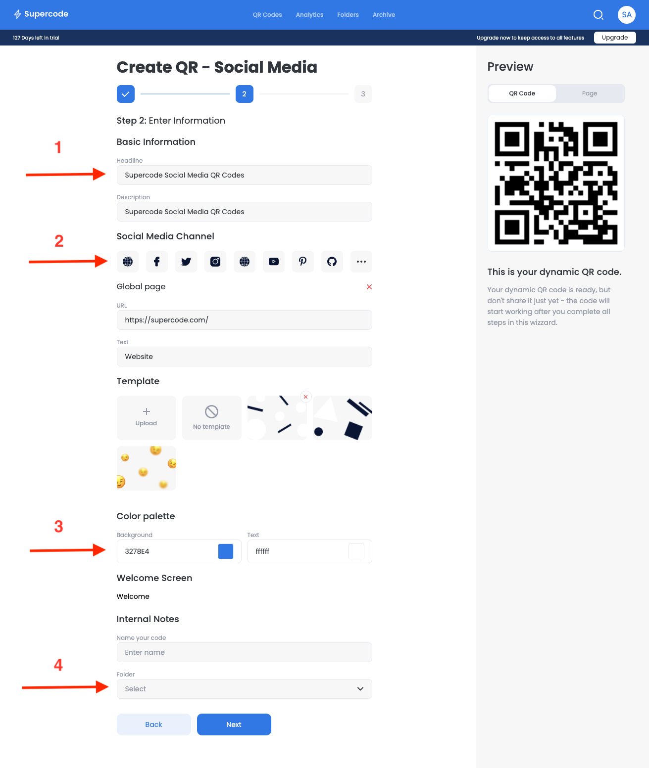 add content to social media qr code generator screen