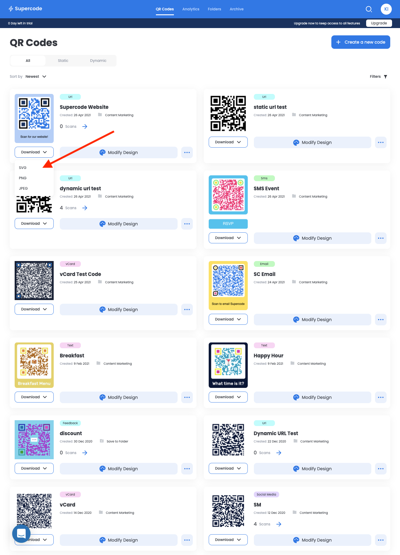 supercode dashboard with many colorful qr codes