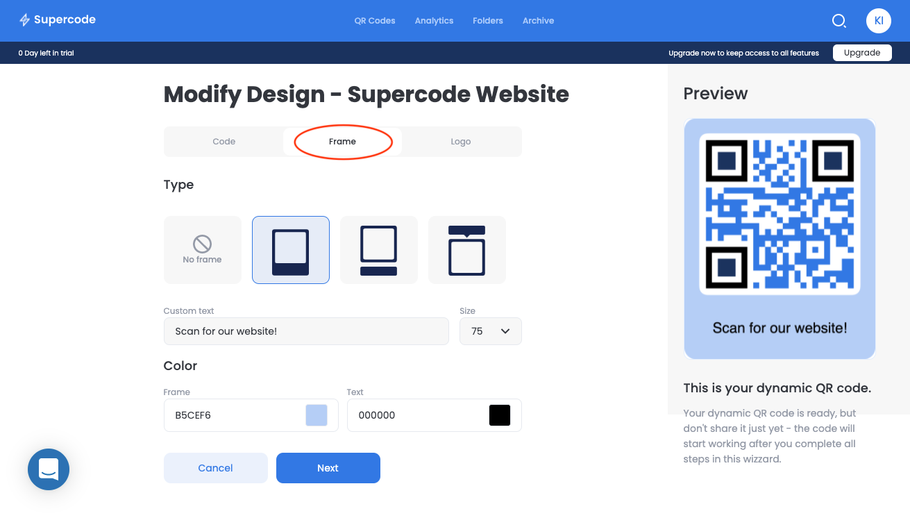 modify frame url qr code screen