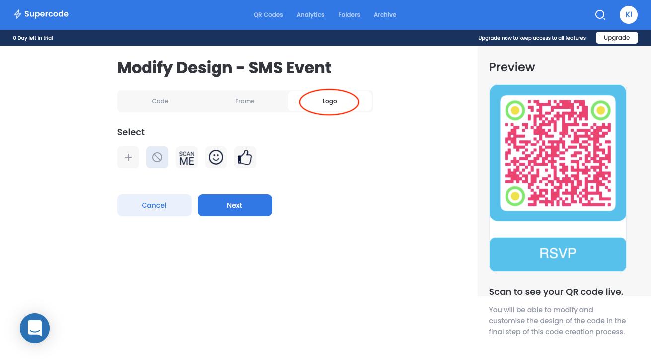modify design logo sms qr code generator screen