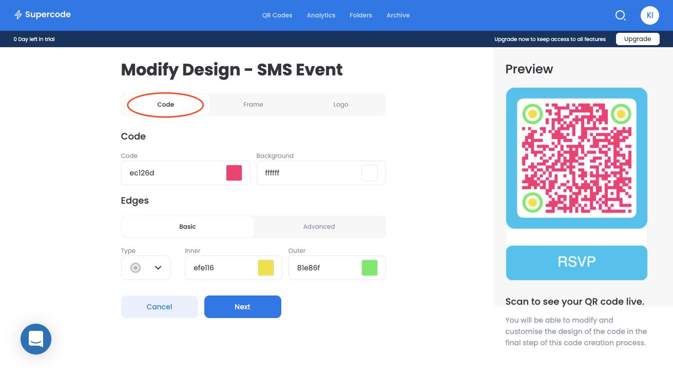 modify code sms qr code generator screen
