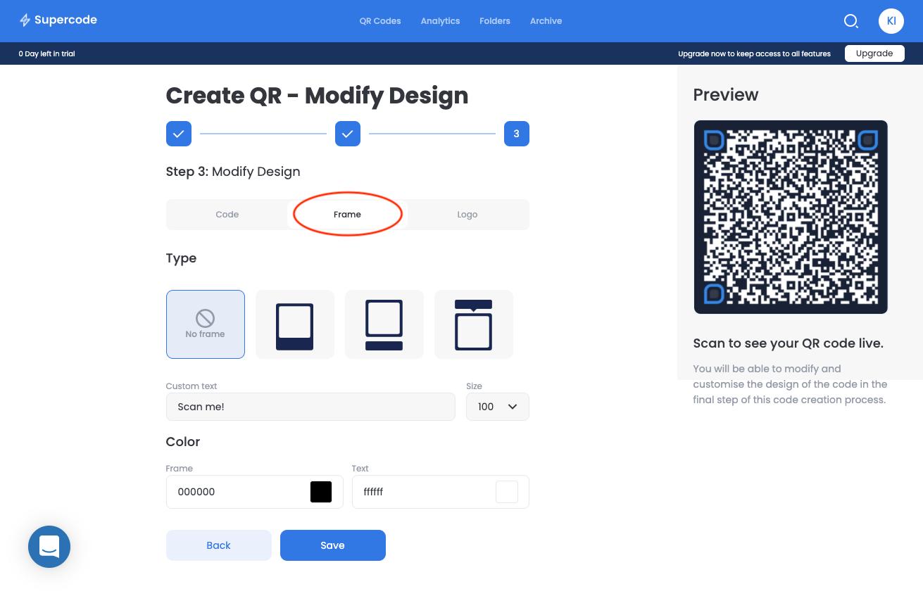 modify vcard qr code frame screen