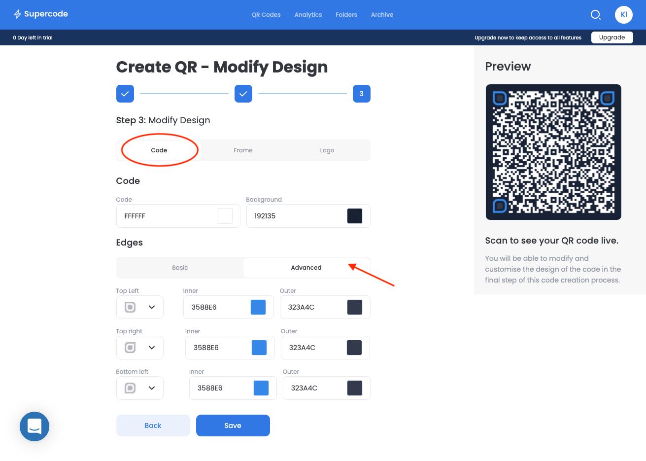 modify vcard qr code screen