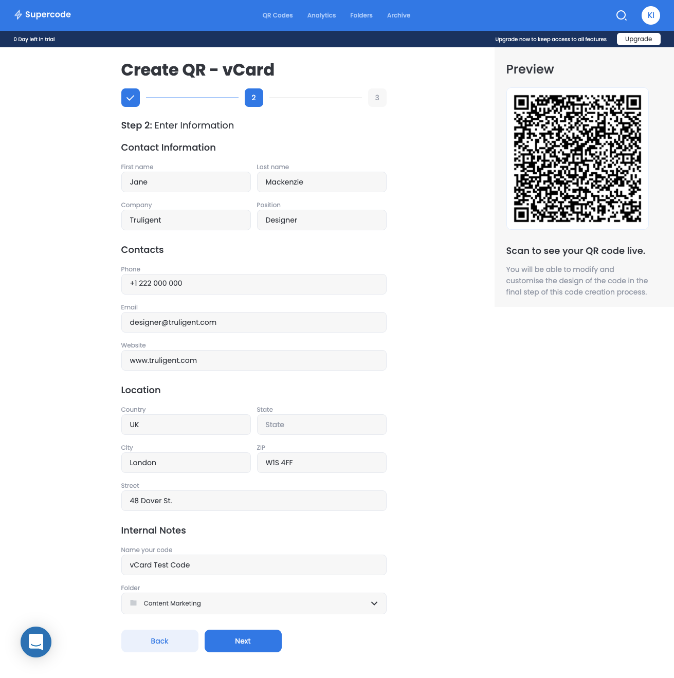 add content to vcard qr code