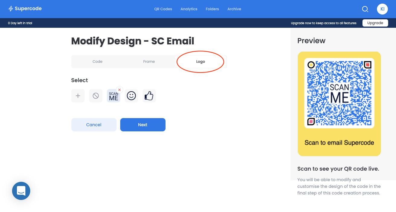 modify logo email qr code screen
