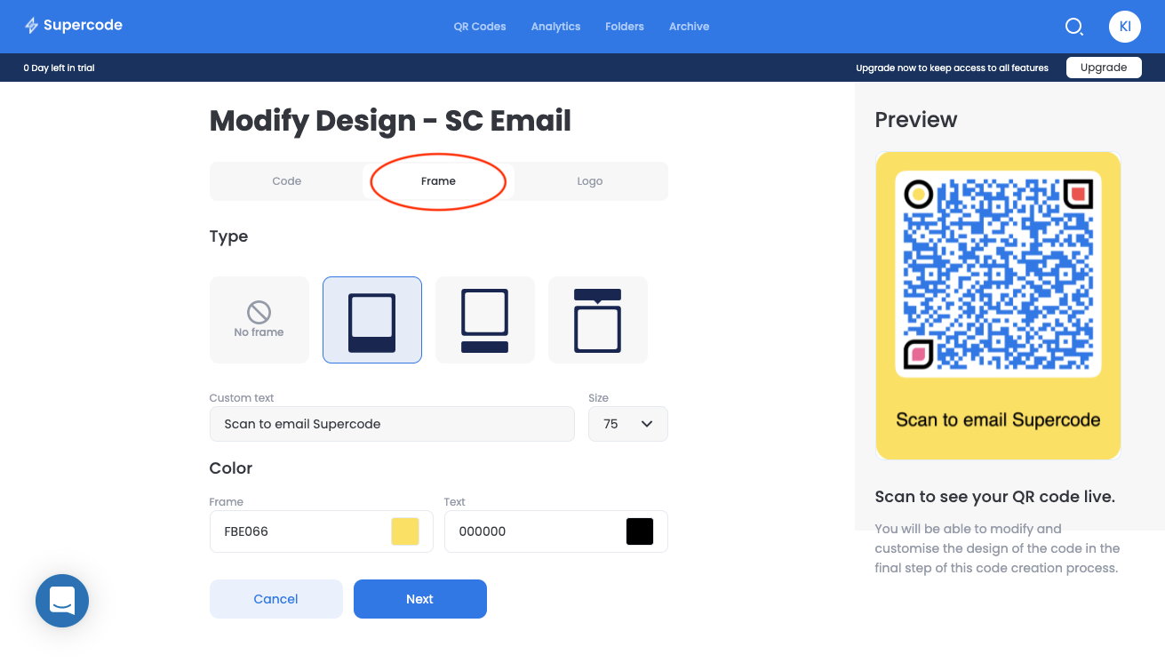 modify frame email qr code screen
