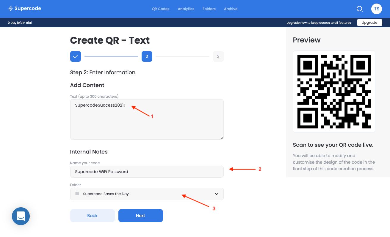text qr code add content screen