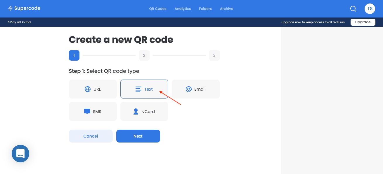 create a new text qr code