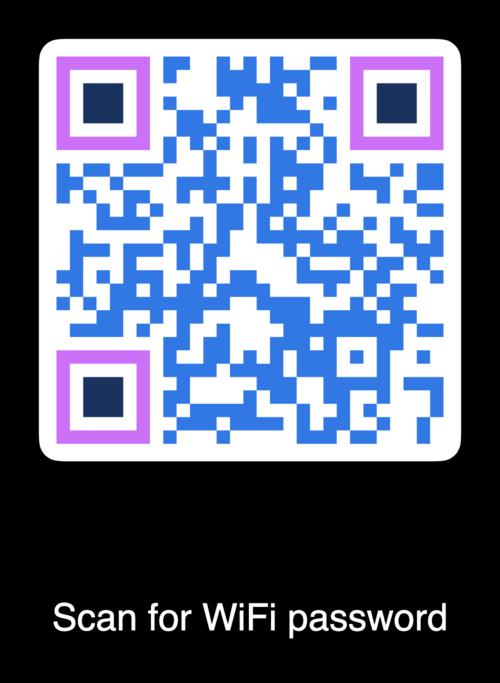 blue and lavender qr code with black frame