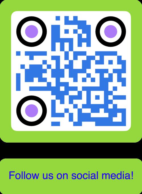 blue social media qr code with green frame