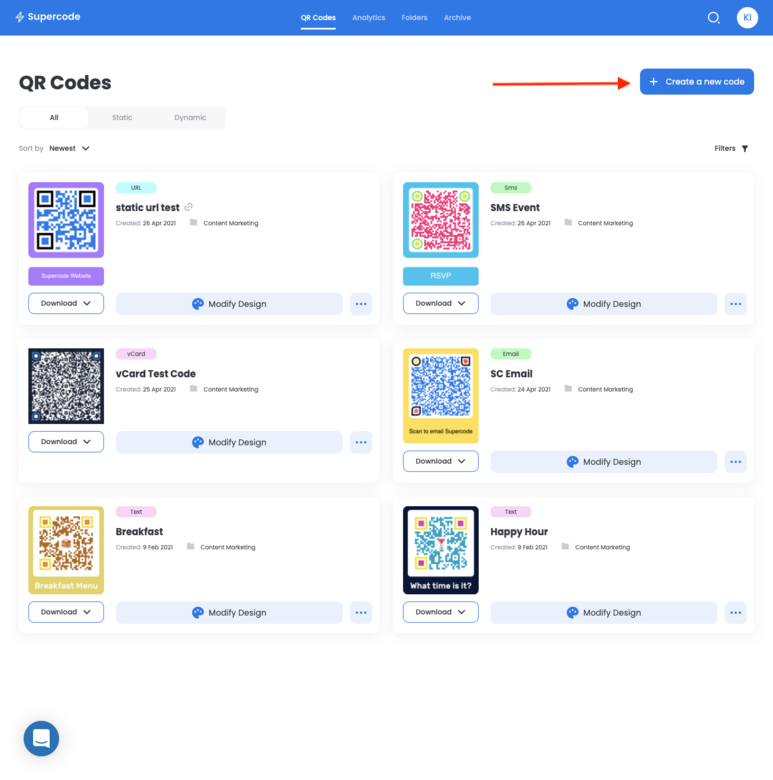 create a new qr code