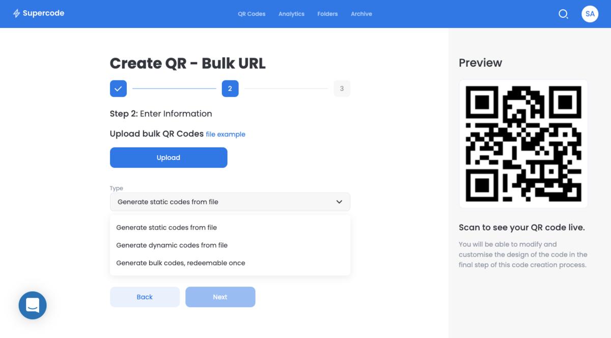 create bulk url qr codes
