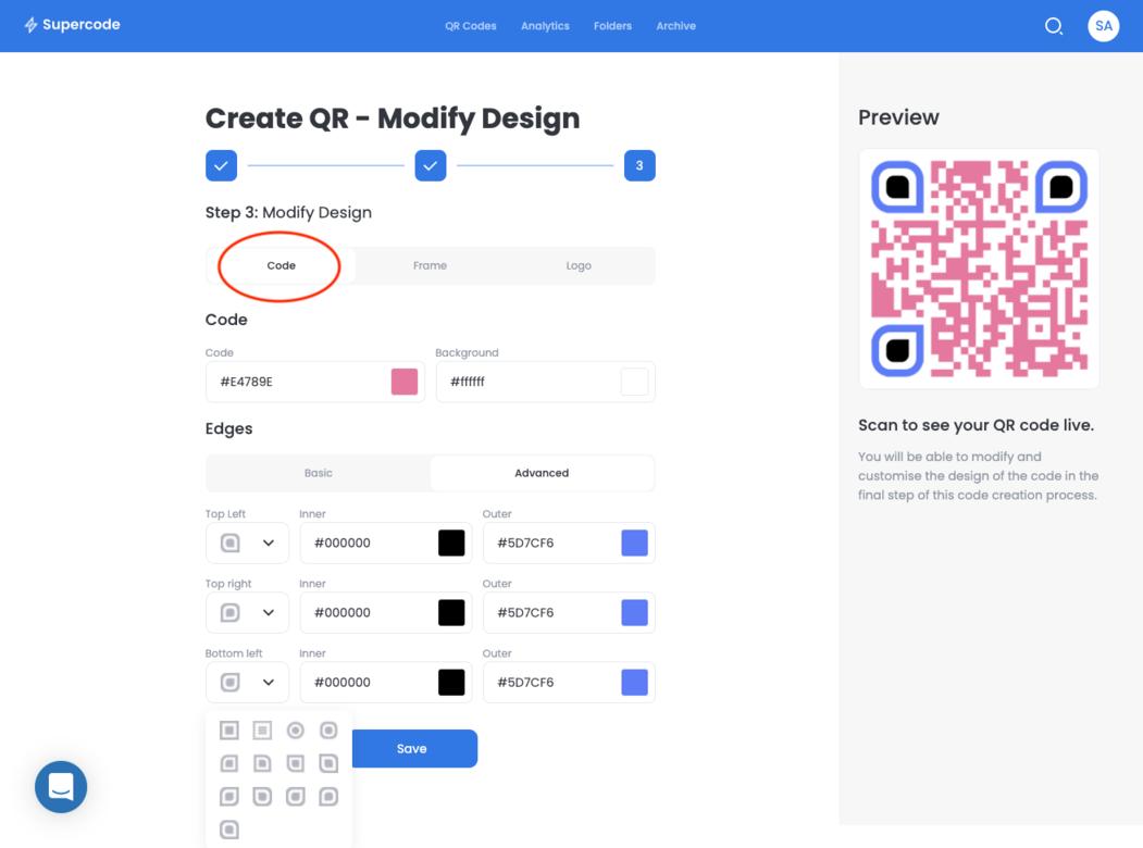 modify design of bulk qr codes