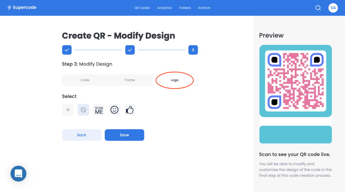 modify logo bulk qr code