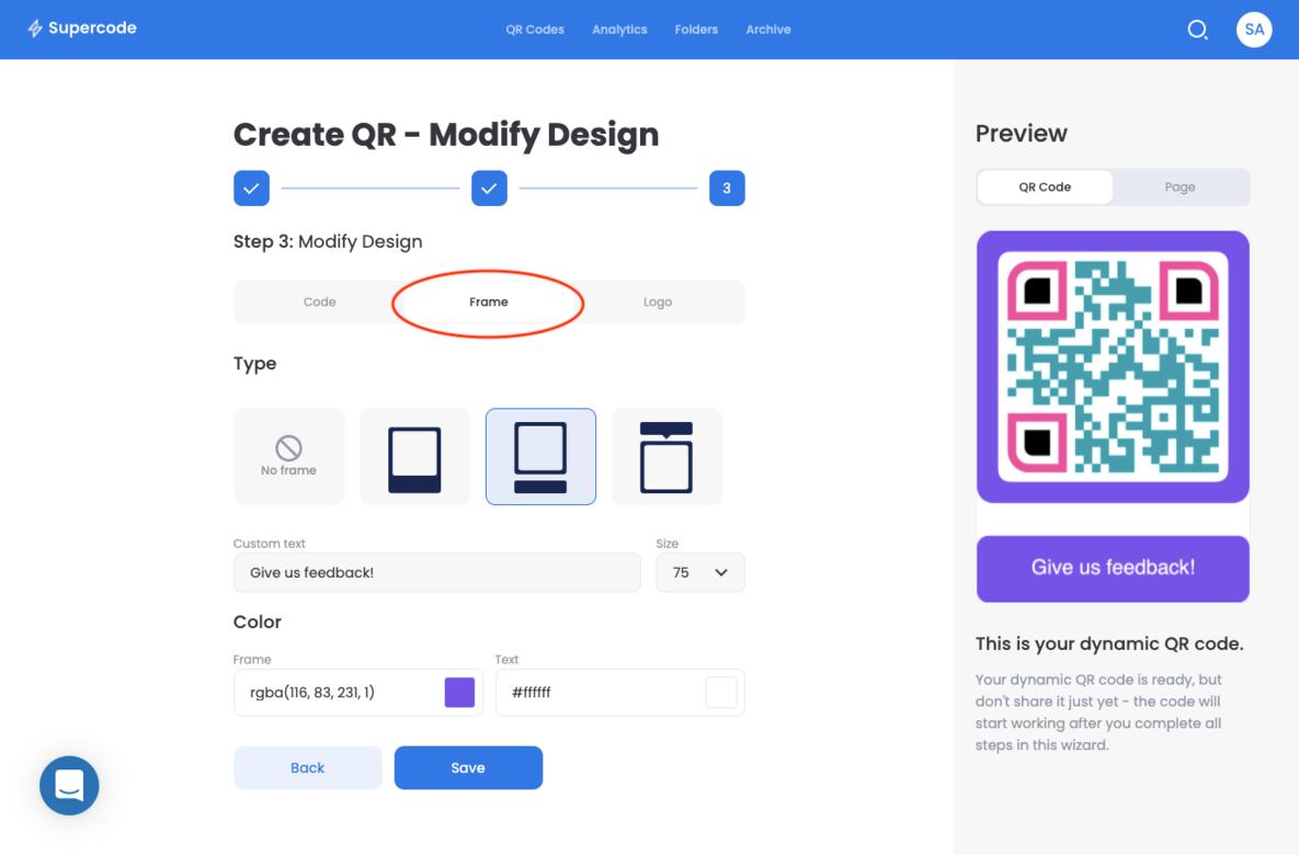 modify frame feedback qr code