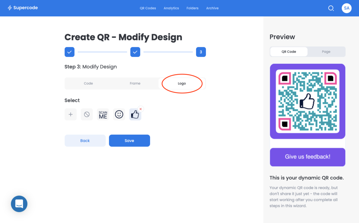 modify logo supercode qr code for feedback