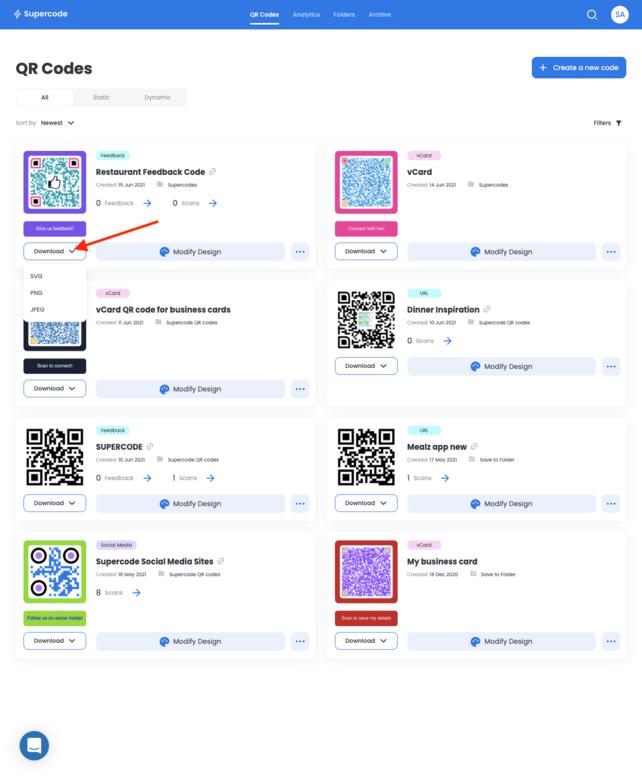 download feedback qr code