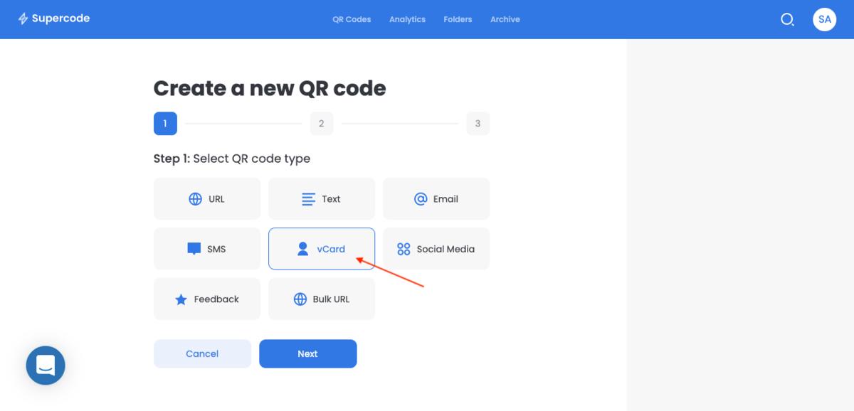 choose a vcard qr code
