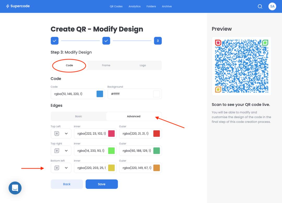 modify the qr code design