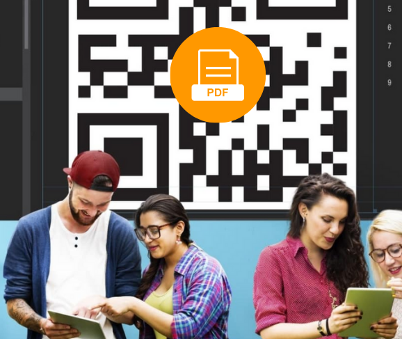 students in front of a qr code for a pdf